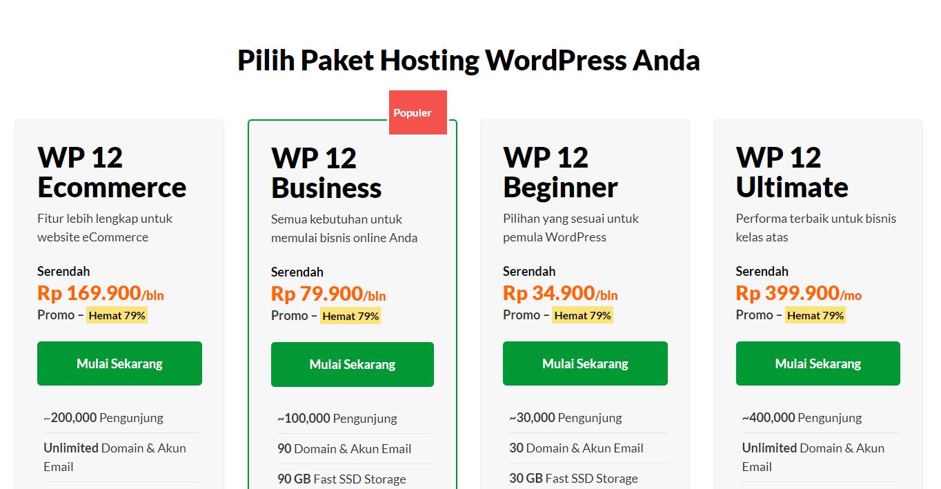 Pilih paket WordPress Hosting