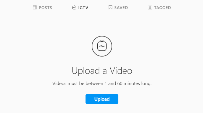 Instagram web profile view in the IGTV tab and a blue upload button in the center