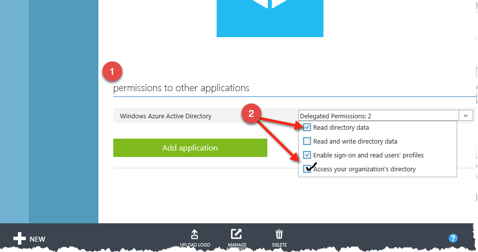 Setting App permissions Azure AD