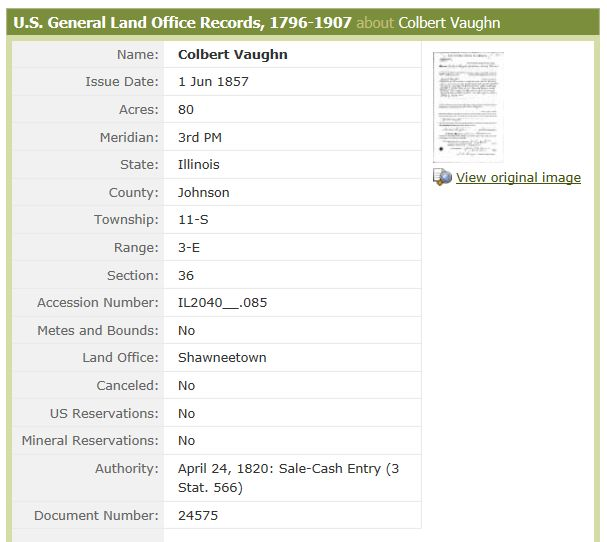 Colbert Vaughn land purchase 1857.jpg