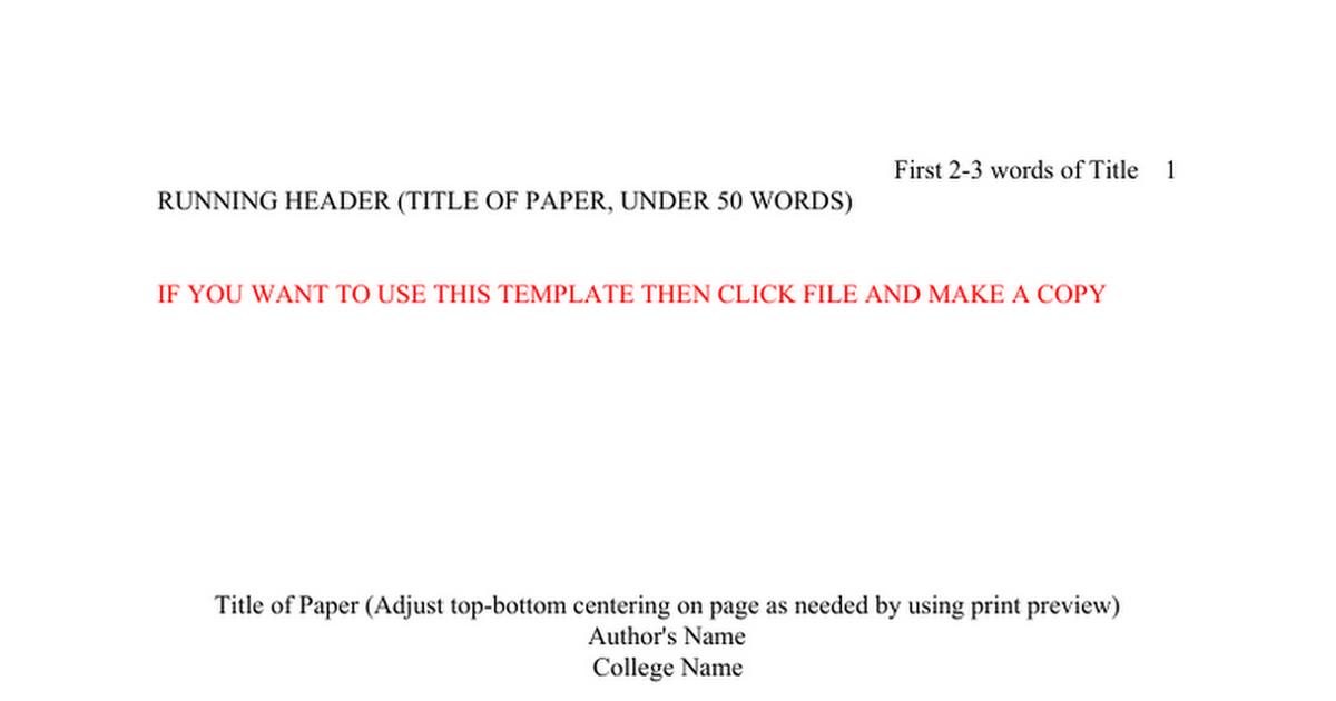 google docs apa format template public APA Format Paper Template Google docs - Google Docs