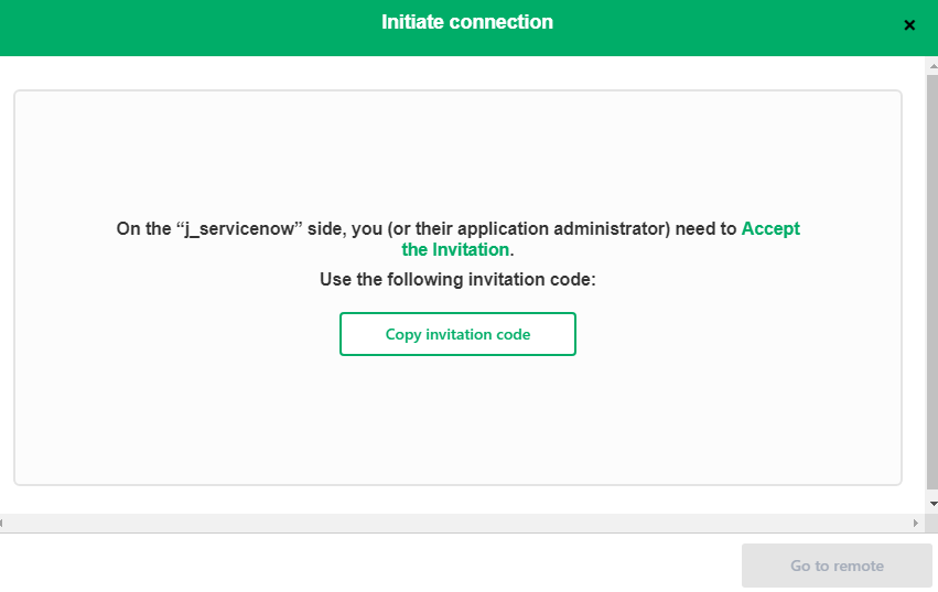 copy invitation code for GitHub servicenow sync