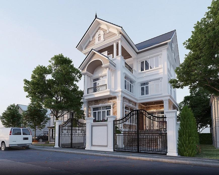 Mẫu nhà mái thái 3 tầng hiện đại