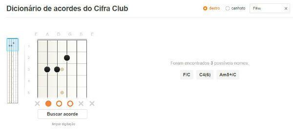 Herramienta de cifra club interactiva: diccionario de acordes