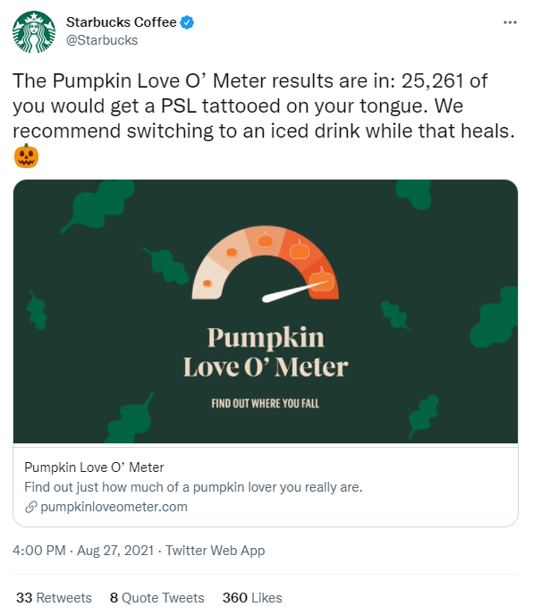 Starbucks coffee tweet example