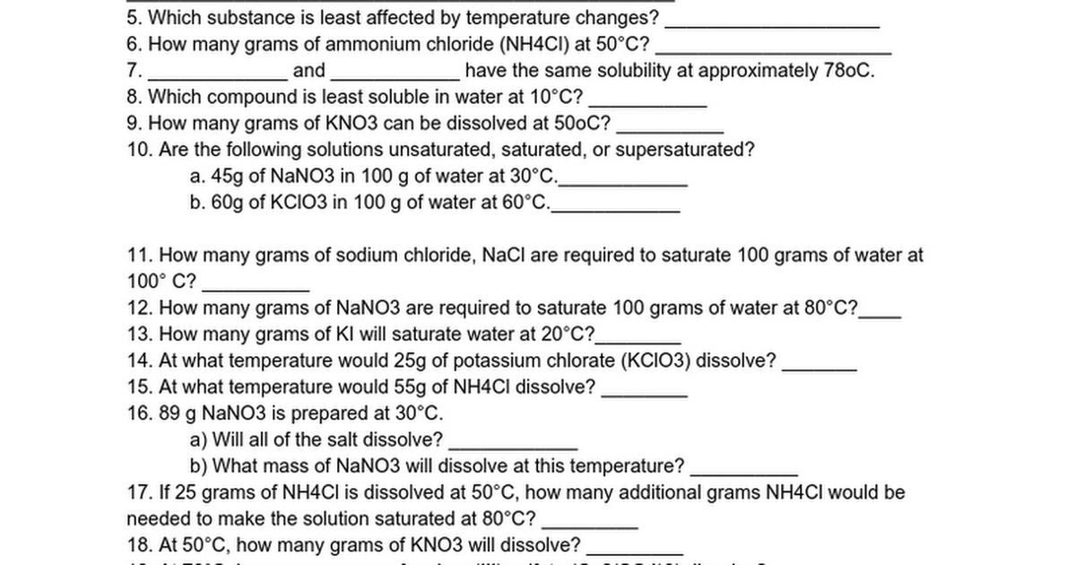 SOLUBILITY CURVE WORKSHEET Google Docs – Solubility Worksheet