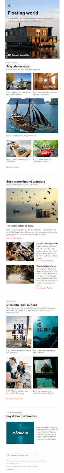 "hospitality email marketing example ""floating world"" Airbnb"