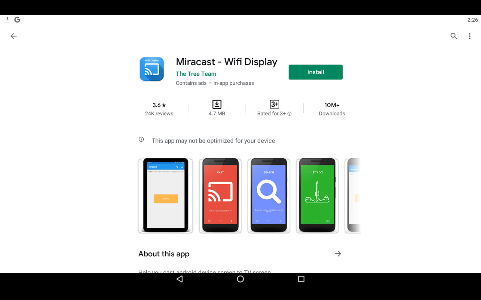 Miracast app on PC download menu