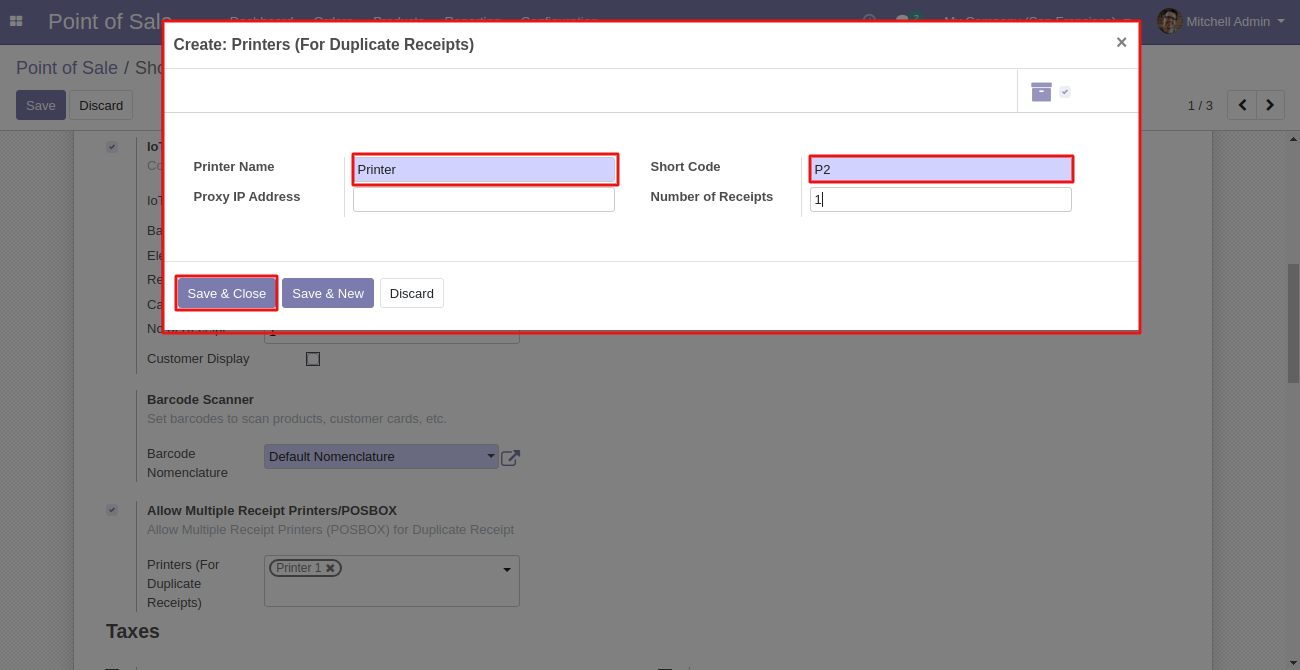 You can also create a printer while using Odoo POS Multiple Receipts module.
