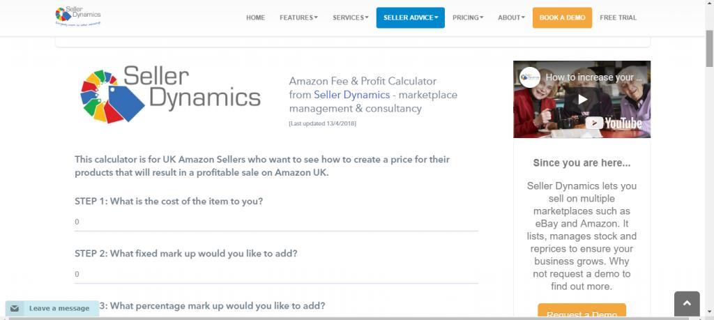 Amazon FBA Calculator by Sellerdynamics