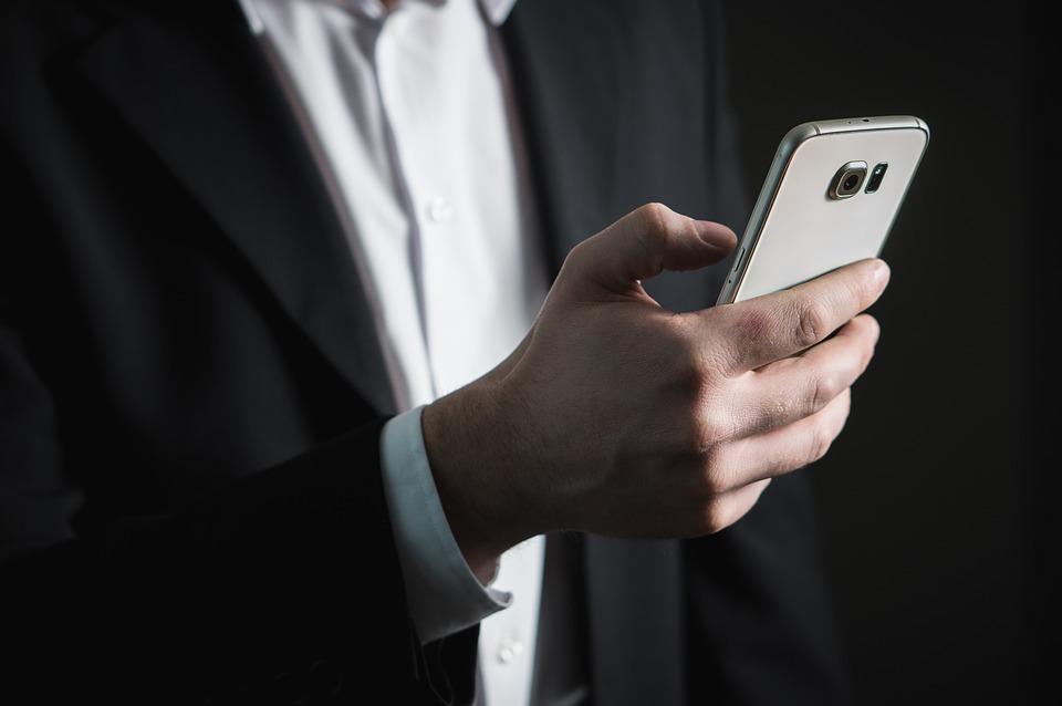 Email, Negócios, Smartphone, Tela, Premente, Empresário