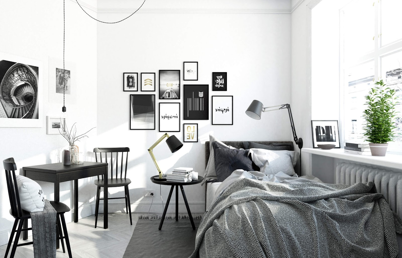 Dekorasi pajangan dinding hitam putih pada kamar tidur Scandinavian - source: nonagon.style