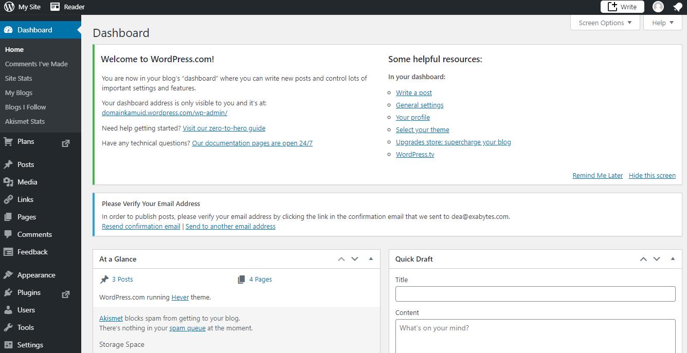 Contoh ilustrasi dashboard di WordPress