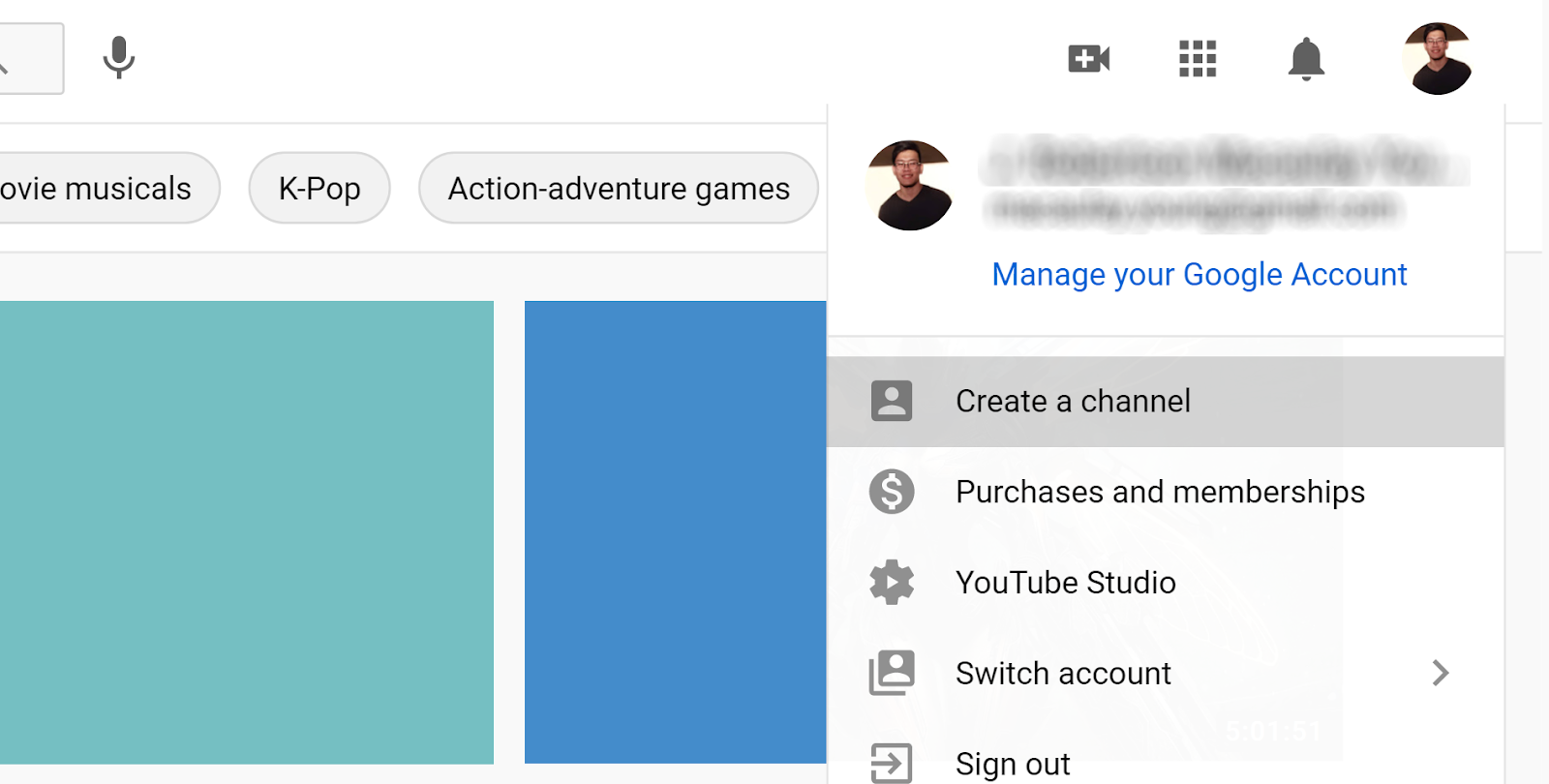 Dropdown to create a YouTube channel