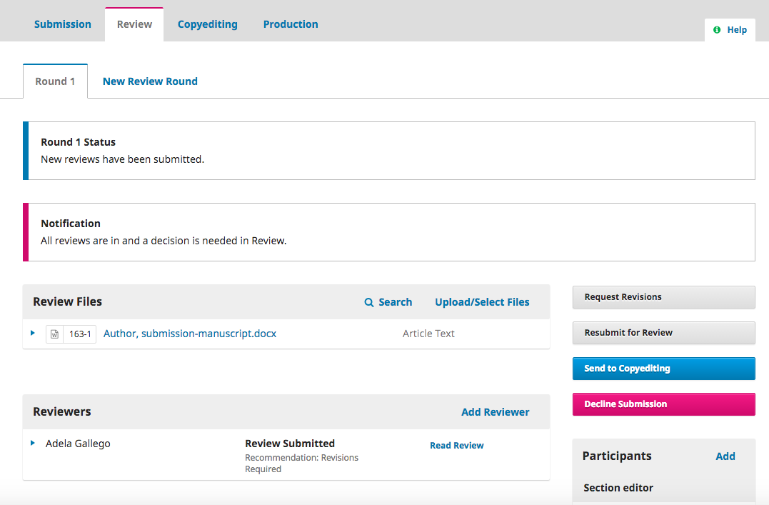 Sample notification of completed reviews in the Section Editor's dashboard.