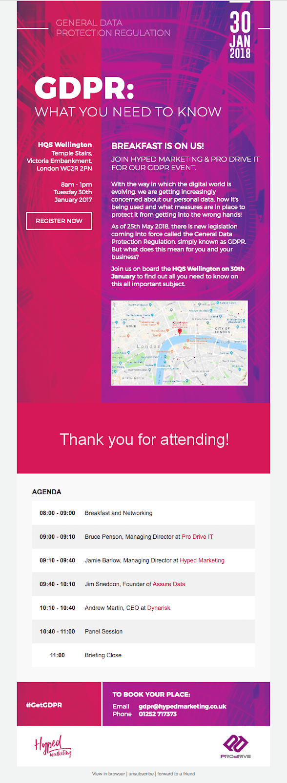 GDPR event invitation email template