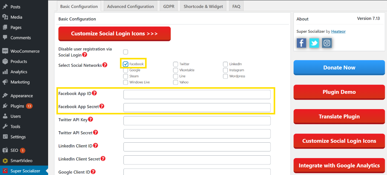 Image of how to enable the social logins on super socializer plugin