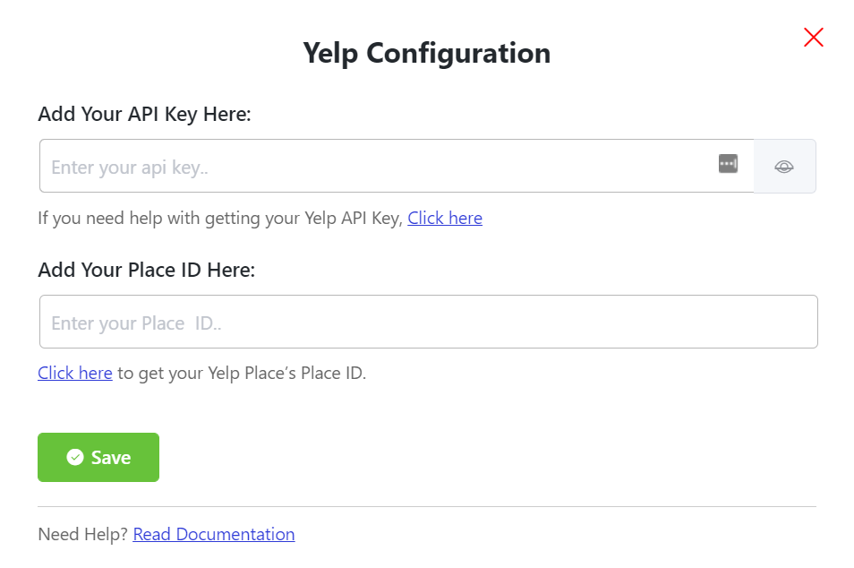 Yelp reviews configuration