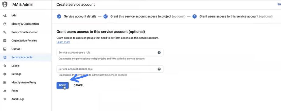 אישור סיום התהליך ב Service accountבגוגל בשביל להגדיר את התיבת מייל הצוותי