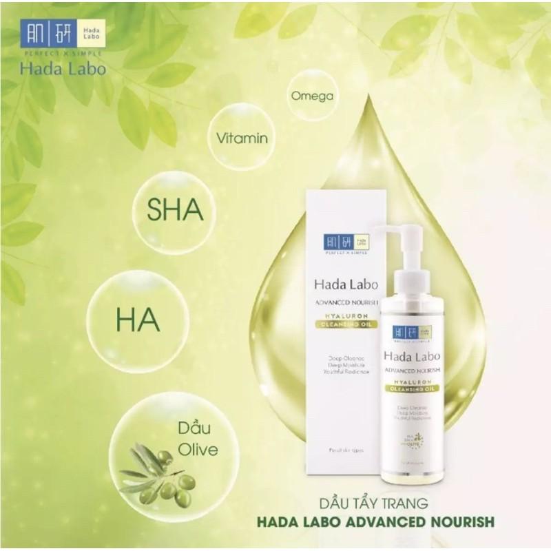 dầu tẩy trang cho da hỗn hợp thiên khô Hada Labo Advanced Nourish Hyaluron Cleansing Oil