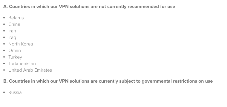 List of countries that Avast Secureline VPN does not recommend for use