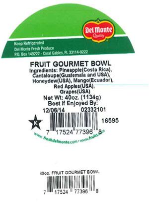 Label, Del Monte Fruit Gourmet Bowl, 40 oz.