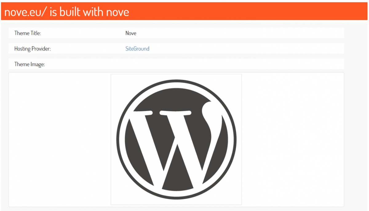 Site ScanWP exibe qual tema a página nove.eu está utilizando
