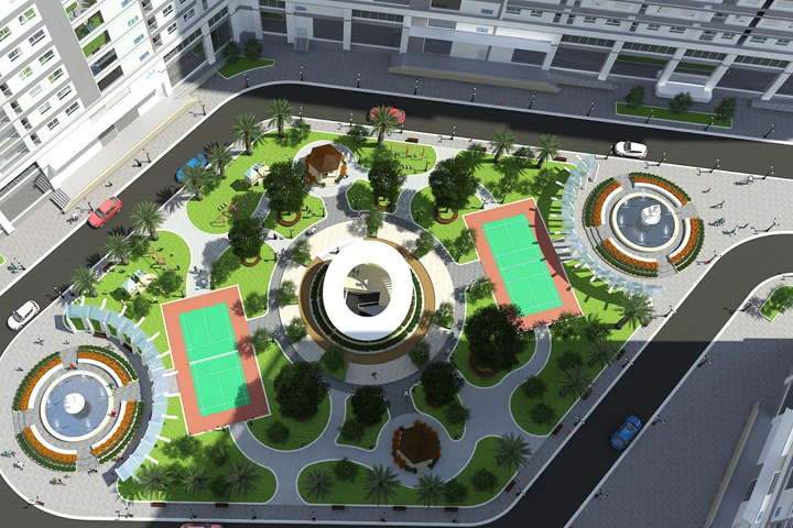 Thiết kế cảnh quan tại các chung cư được bố trí thành các khu vực khác nhau