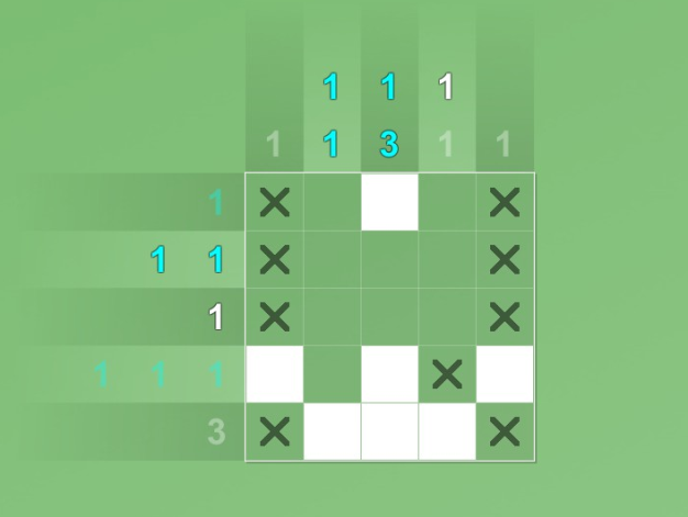 A partially completed 5 x 5 grid puzzle against a green background, with some row/column numbers greyed out, a few of them turned blue, and a couple being both blue and grey.