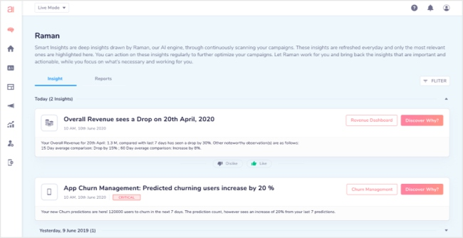 contextual alerts on the Raman Insights dashboard
