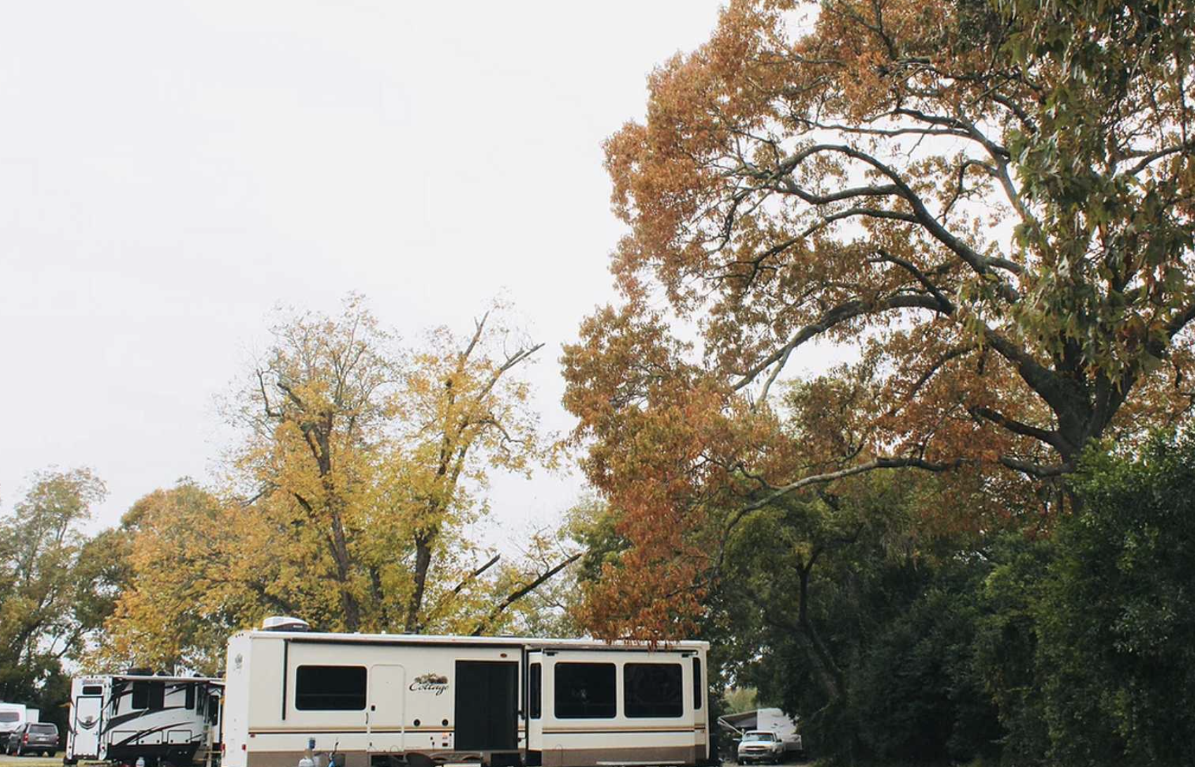 RV in the fall trees at campground in Georgia