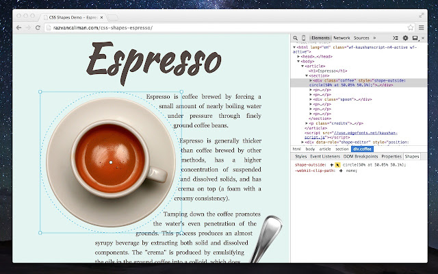 CSS Shapes Editor chrome extension