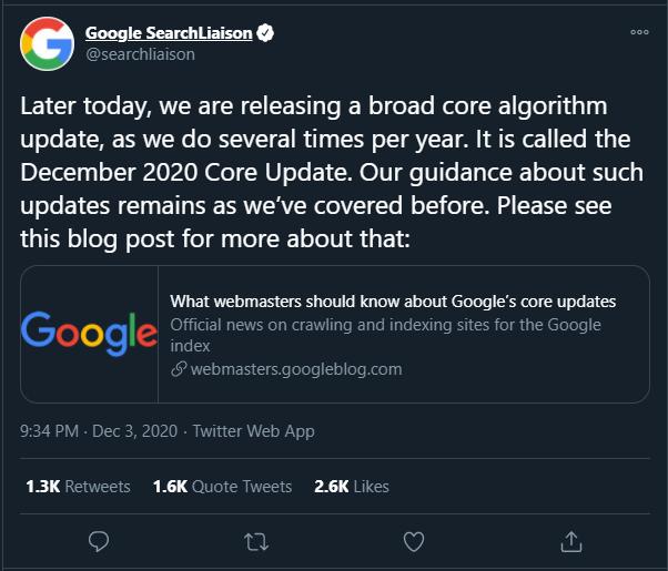 Google December Core Update 2020