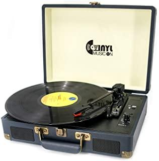 Suitcase USB Turntable for 33/45/78 RPM Record,Vintage Vinyl Record Player with Stereo Speakers, RCA Output&Line-in and US...