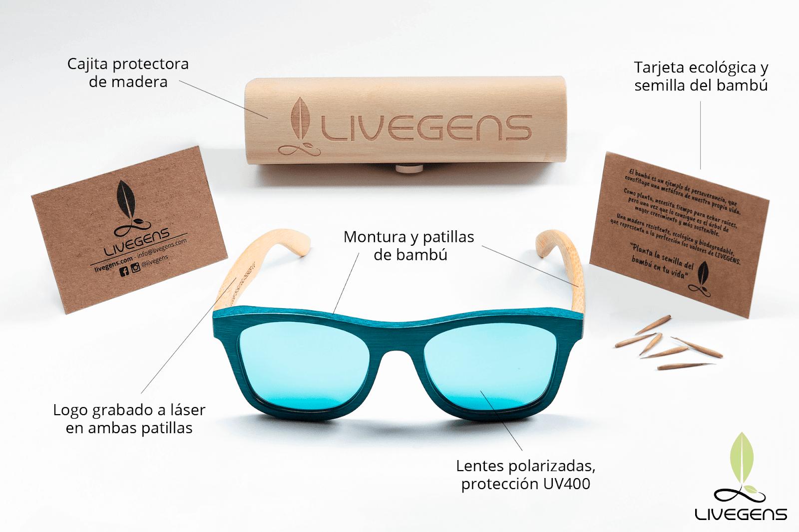 Livegens gafas de bambu