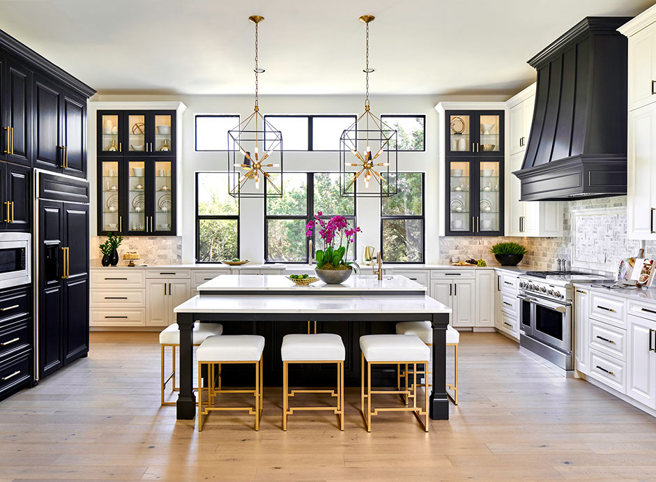 Large Open Kitchen, Black Cabinets with gold hardware, Statement lighting