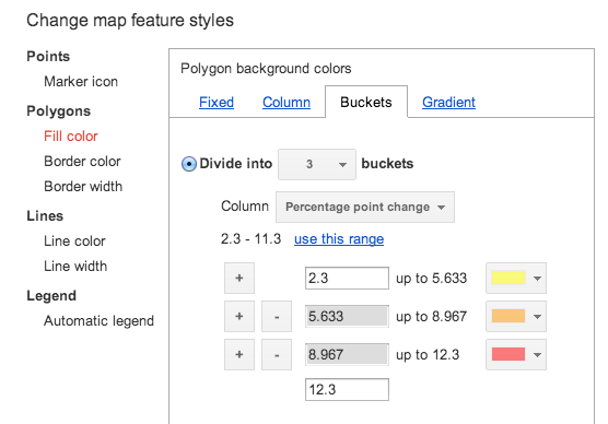 Colour shading on Google Fusion Tables