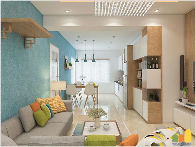 Thiết kế phòng khách thông phòng ăn chung cư hoặc nhà ống