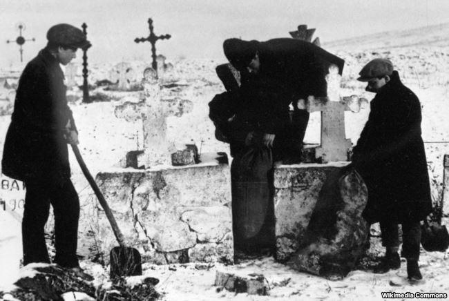 Комсомольцы извлекают зерно, спрятанное кулаками на кладбище. 1930 год