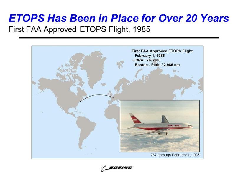 Первый самолет ETOPS