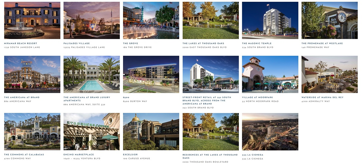 Propriedades de Caruso, incluindo shoppings ao ar livre e apartamentos.