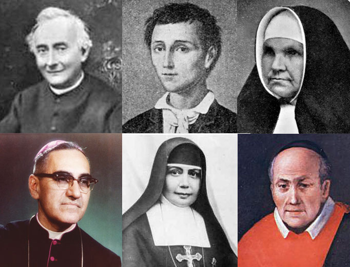 Front row: Archbishop Óscar Romero, Sister Nazaria Ignacia de Santa Teresa de Jesús March Mesa and Father Vincenzo Romano; second row: Father Francesco Spinelli, Nunzio Sulprizio and Sister Maria Katharina Kasper