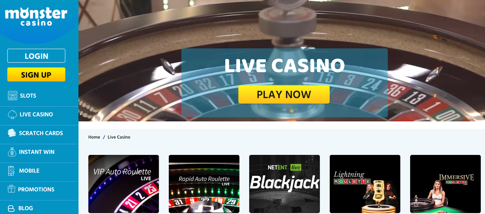 Monster Casino is the best 200% casino bonus site for roulette