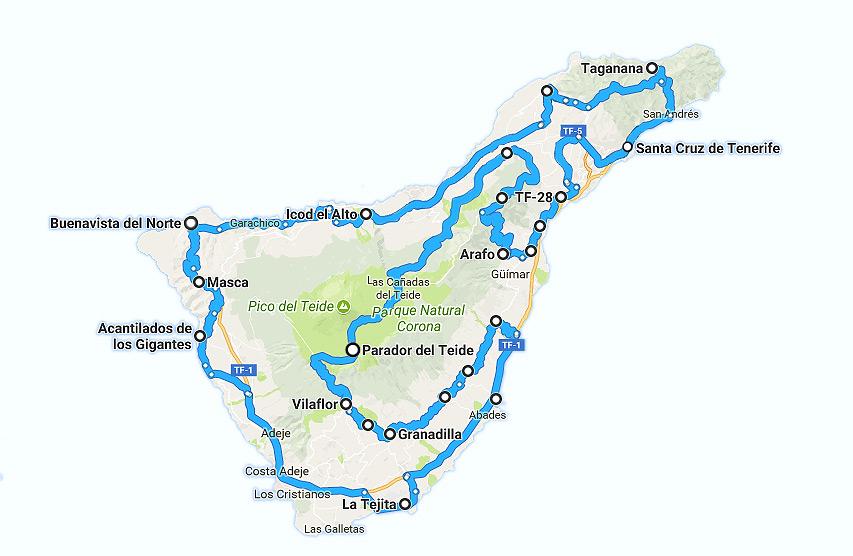 Mapa de Ruta con moto por Tenerife. 3 días