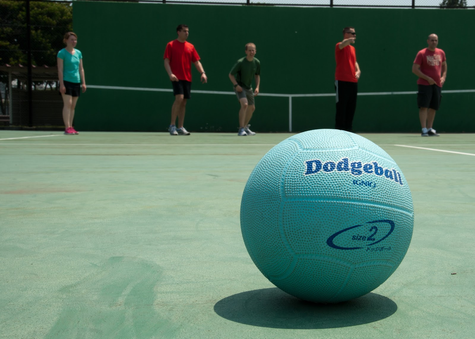 A Dodgeball on a court,