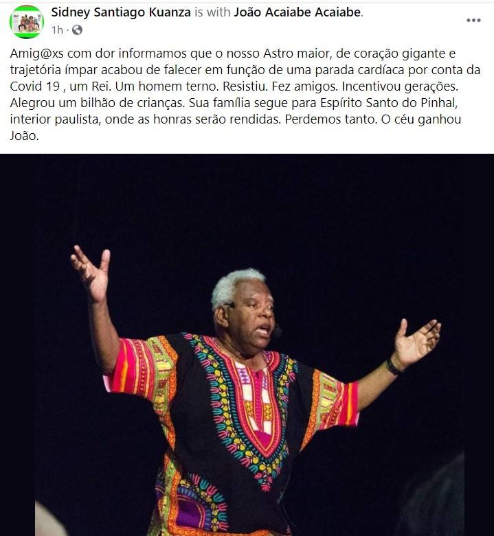Sidney Santiago Kuanza faz homenagem a João (Foto: reprodução/instagram)