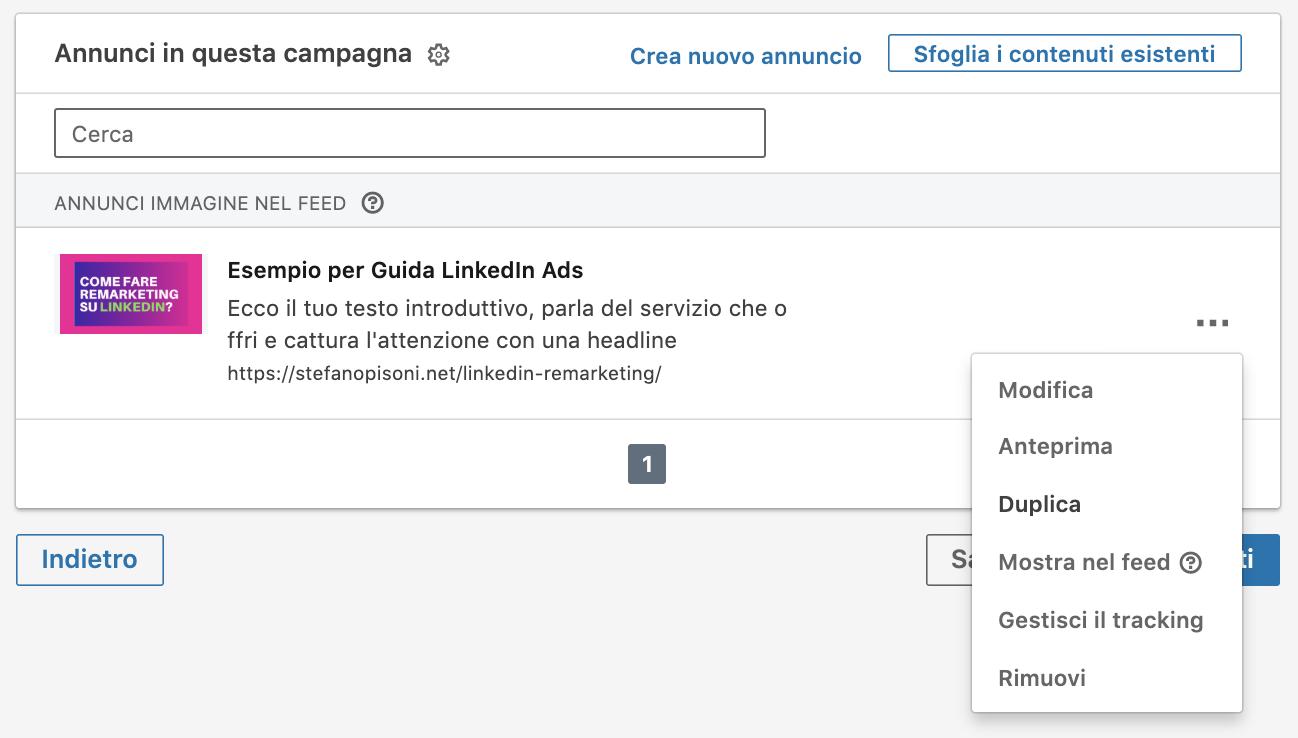 duplicare campagna linkedin