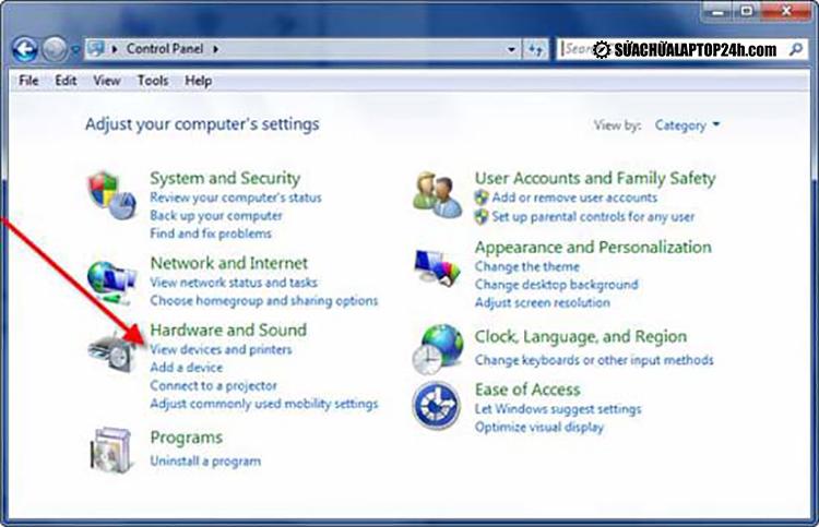 Control Panel trong Windows 7