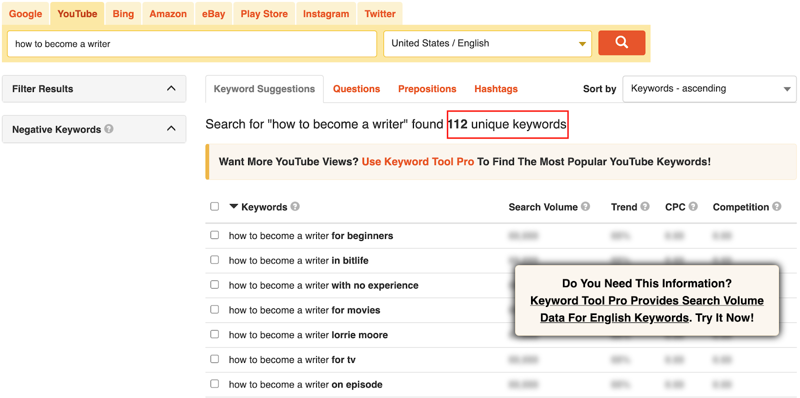 "A glimpse from the 112 unique keywords Keyword Tool found for the phrase ""how to become a writer."""