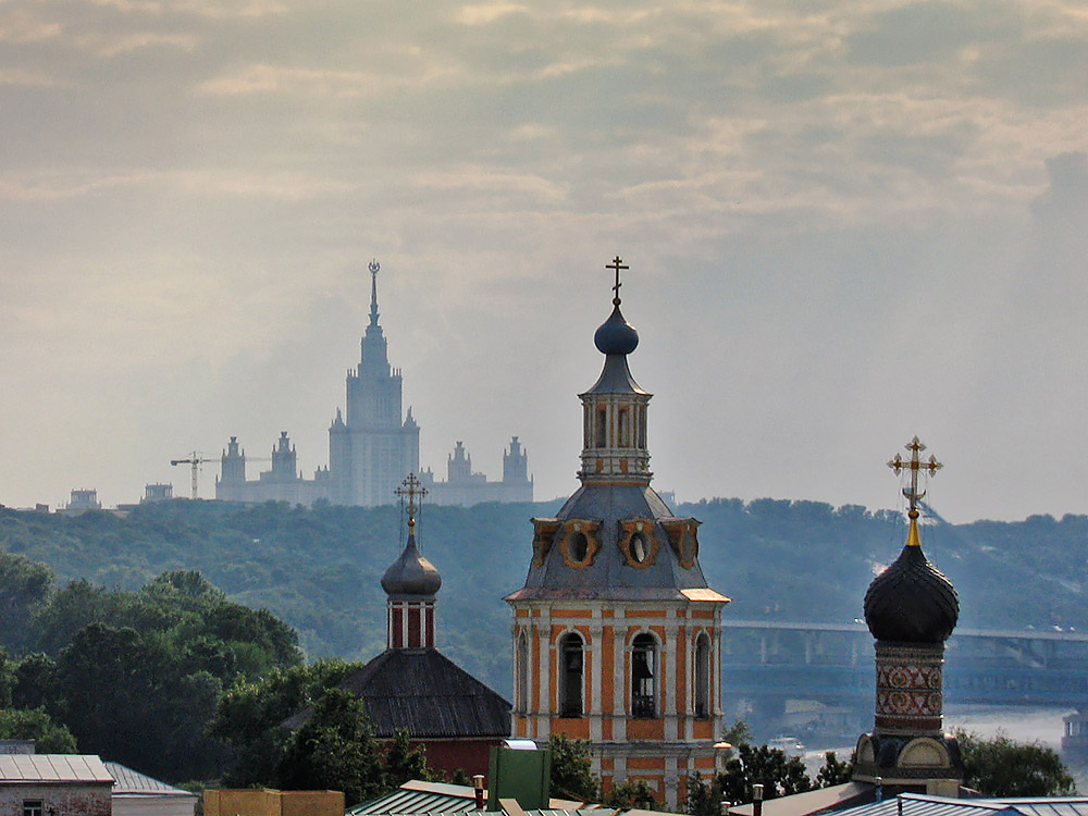 A view of the chruch and the Moscow university, Russia